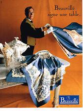 PUBLICITE ADVERTISING 064  1995  BEAUVILLE linge de table  nappes