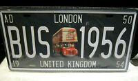 ROUTEMASTER BUS, LONDON- novelty LICENCE(LICENSE) PLATE, GARAGE/BAR/PUB/DINER,