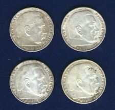 GERMANY THIRD REICH  1935-A-E-F-J   5 REICHSMARK SILVER COINS, LOT OF (4)