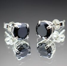 2.00tcw Real Natural Black Diamond Stud Earrings AAA Grade & $1200 Value....