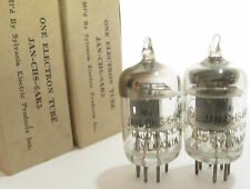 2 matched 1940s Sylvania JAN-CHS-6AK5 (5654,403B,6J1)tubes- Black Plate, Top [ ]
