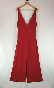 Boohoo Petite Red Jumpsuit Pantsuit Size 14  Sleeveless Wide-Leg Brand New Tags