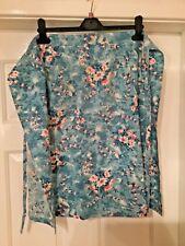 """Vintage Apron, Upto 48"""" Waist, L- 24"""" Blue Floral/Wht/Pink"""