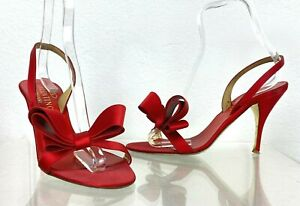 Valentino Black Label 8 US 38 EU Red Satin Strappy Heel Shoes Bow Runway Auth