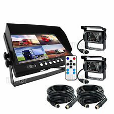 "9""Quad Monitor 4PIN CCD Reversing Camera Rearview 12V 24V 2 Camera Package Truck"