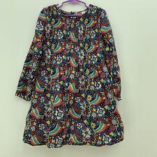 MINI BODEN Girls SZ 7-8 Yr Groovy Rainbow Ditsy Blue Floral Woven Dress - EUC