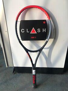 "Wilson Clash 100 tennis racket, unstrung, grip 4 1/4"""