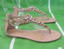 Nuevo para Dama Verano Tono de piel / dorado Zapatos Mujer Gladiador Romano