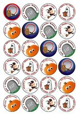 30 PRE-CUT EDIBLE WAFER CUP CAKE TOPPERS HALLOWEEN BATS GHOST WITCH PUMPKIN