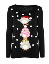 Womens M&CO Black Multi Sequin Snowflaks 3D Christmas Jumper Top Xmas Penguin