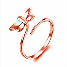 Shiny Rose Gold Plated Long Tail Dragonfly Adjustable Open Pinkie Ring Gift
