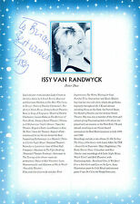 ISSY VAN RANDWYCK HAND SIGNED 10 x 7 BIO PAGE FROM THEATRE PROGRAMME