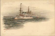 French Navy Naval Battleship Croisseur 1st Classe Alger Jean Bart Postcard jrf