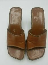 Linea Paolo Women's Brother Leather High Heel Sandals Shoes Slides 6.5M