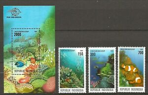 Indonesia 1997 Fauna Wildlife Marinelife Fisch Coral Reef Fish set + SS MNH