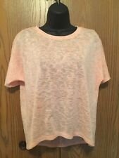 Chicos Size 1 Top Womens Size L XL Peach Short Sleeve Sheer Knit Longer Back