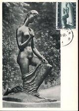 belgium,2688,maxicard, sculpture of lehmbruck,  naked woman