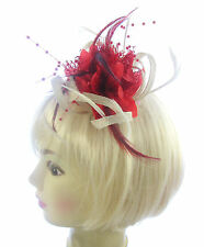 Ascot Races , cream and red twisted fascinator clip, weddings