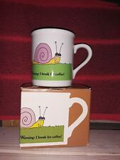 Vintage Hallmark Mugs Warning: I Break For Coffee Snail Mug Cup with box