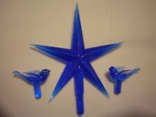 Lg Royal Blue Star w/ 2 free Blue Dove lights,bulbs for Ceramic Christmas Tree