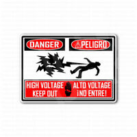 Danger Peligro High Voltage Keep Out Sign Sticker