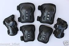 Kid's Roller Blading Wrist Elbow Knee Pads Blades Guard 6 PCS Set in BLACK