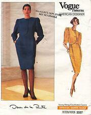 1980's VOGUE A.D. Misses' Dress Oskar de la Renta Pattern 2337 12-16