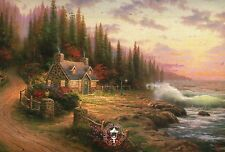 Pine Cove Cottage -- Ocean Waves, Trees, Shore -- Thomas Kinkade Dealer Postcard