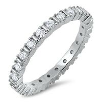Sterling Silver 925 STACKABLE ETERNITY DESIGN CLEAR CZ BAND RING 3MM SIZES 5-10