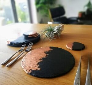 round slate placemats & coasters, contemporary, gilded copper place settings