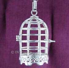 925 Silber - Vogelkäfig Anhänger zum Öffnen - Klangkugel Käfig Amulett Medaillon