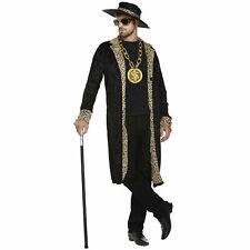 Mens 70s Rapper Gangster Pimp Black Costume Adults Fancy Dress Outfit Jacket Hat