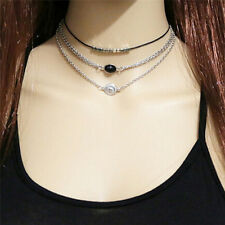TopThree Layers Fashion Collar Black Multi-layer Necklace Set Wax Wope NecklaceW