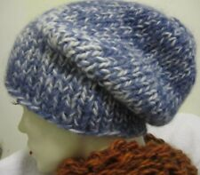 Handmade hats in a blend of wool/mohair/acrylic- size S/M blue /gray/white