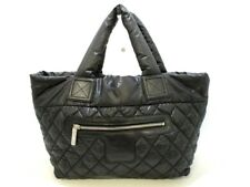 Auth CHANEL Coco Cocoon PM A48610 Black Nylon Tote Bag Reversible