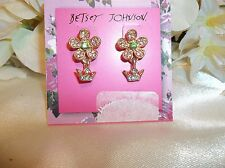 Betsey Johnson Spring Pave Flower & Crown Dangle Earrings NWT $25