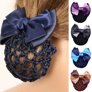 Women Bow Bun Clips Hair Accessories Cover Snood Net Hair Barrette Hairnet AUS