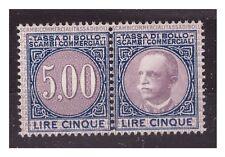 1929  -  MARCA DA BOLLO  SCAMBI COMMERCIALI   LIRE 5  NUOVA **