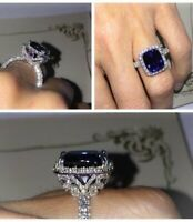6ct Cushion Cut Blue Sapphire Halo Cocktail Engagement Ring 14k White Gold Over