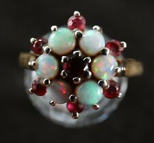 18 ct Gold Fire Opal & Ruby Cluster Ring