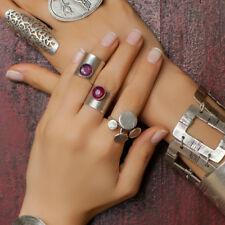 Boho Stone Wrap Antique Silver Agate Stackable Statement Fashion Knuckle Ring