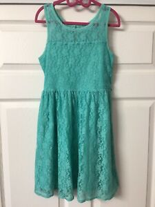 Girl's Justice Sleeveless Green Lace Party/Formal Dress Size 10 VGUC