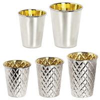 Hochwertiger Silberbecher Trinkbecher versilbert innen Messing Goldoptik Metall