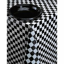 Plastic Banquet Table Cover, Black & White Check, Two-Tone Racing Flag