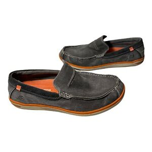 Men's Skechers Relaxed Fit Slip On Size 8 Canvas leather Loafer - Gray/orange