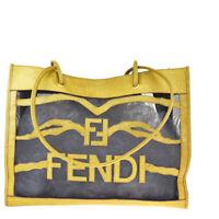 Authentic FENDI Shoulder Tote Bag PVC Leather Mesh Brown Black Italy 62JC258