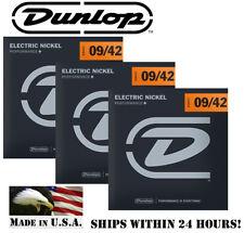 *3 SETS DUNLOP NICKEL PLATED STEEL ELECTRIC GUITAR STRINGS 9-42 GAUGE (DEN0942)*