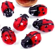 10 Small Lampwork Glass Ladybug Beads 16x10mm