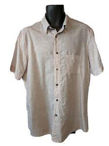 Ermenegildo Zegna linen cotton lightweight striped short sleeve mens shirt Sz XL