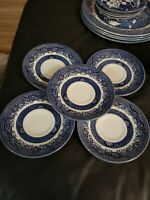 "Set of 4! Churchill Blue Willow 5 1/2"" Saucer Plate Staffordshire England"